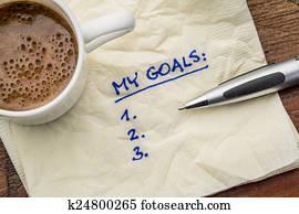 my goals list on napkin