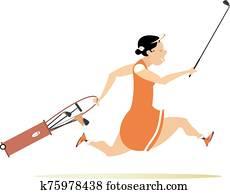 Smiling golfer woman runs to play golf illustration