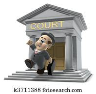 Wilfred leaving the court house