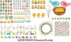 Big easter collection with eggs, birds and rabbits
