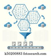 Business intelligence processing and Database management concept.