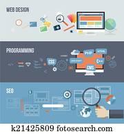 flache, begriffe, für, webentwicklung