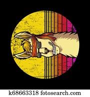 llama Retro sunrise Vector illustration