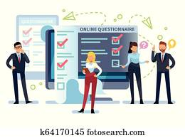 Online questionnaire. People fill out internet survey form on pc. Exam list, successful computer testing, online quiz