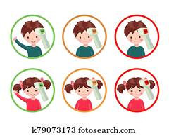 Set of icons with healthy and sick girls and boys with contactless infrared thermometer wich shows temperature.