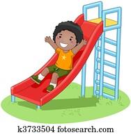 Boy sliding