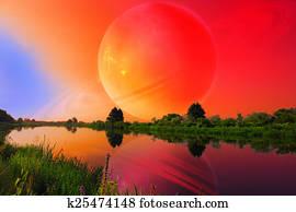 Fantastic Landscape with Large Planet over Tranquil River