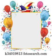 Golden Paper Frame Balloons Carnival