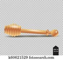 wood honey dipper