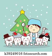christmas and snow with tooth