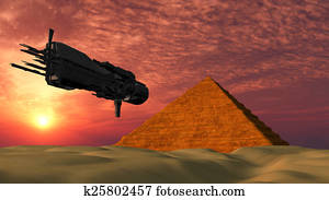 UFO Spaceship Flying towards a Pyramid - Fantasy Alien Illustrations
