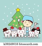 weihnachten, und, schnee, mit, zahn