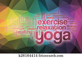 Yoga word cloud with abstract background