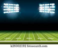 amerikanisch fussball, feld, mit, stadion, lichter