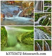 collage of waterfalls from nine photos