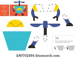 Cut and glue paper toy vector illustration. Cute robot character scissors cutting model