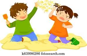 Kid Throwing Sand