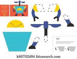 schneiden, und, klebstoff, papier, spielzeug, vektor, illustration., niedlich, roboter, zeichen, schere, schneiden, modell