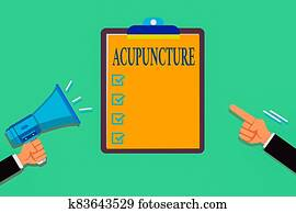 Writing note showing Acupuncture. Business photo showcasing system of integrative medicine involve pricking skin with needle Hu analysis Hands Holding Megaphone Pointing Blank Clipboard.