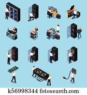 IT Engineer Isometric Set