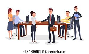 Successful business meeting vector illustration