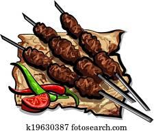 gegrillt, kebab