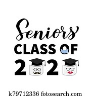 Seniors Class of 2020 lettering with toilet paper, mask and graduation cap. Coronavirus COVID-19 quarantine. Funny graduation typography poster. Vector template for greeting card, banner, t-shirt.