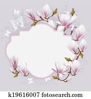 altmodisch, karte, mit, magnolie