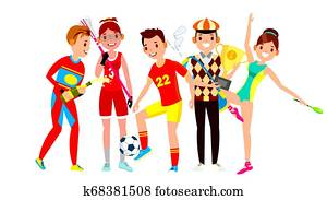 Athlete Set . Man, Woman. Lacrosse, Soccer, Golf, Gymnastics. Group Of Sports People In Uniform, Apparel. Sportsman Character In Game Action. Flat Cartoon Illustration