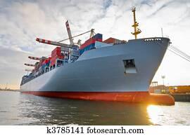 Cargo freight container ship
