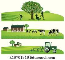 landwirtschaft, und, kleingarten