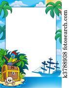 Pirate frame with treasure island