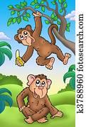 Two cartoon monkeys