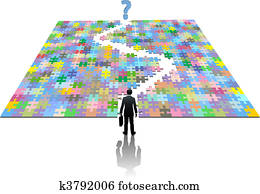 Business man path search puzzle solution