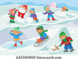 illustration of little children playing outdoors in winter