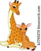 mother-giraffe, und, baby-giraffe