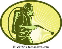 Pest control exterminator worker spraying side view