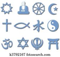 Religion Symbol Set 3D major world religions