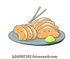 salmon sashimi cartoon illustration