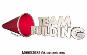 Team Building Recruitment Join Us Bullhorn Megaphone 3d Illustration