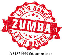 zumba red grunge seal isolated on white