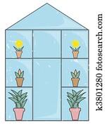 Blue Glass Greenhouse light grunge
