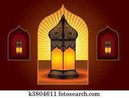 Colorful intricate arabic lantern for eid or ramadan celebration