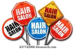 hair salon, 3D rendering, street signs
