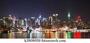 NEW YORK CITY NIGHT SKYLINE PANORAMA
