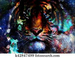 tiger collage on color abstract background, rust structure, wildlife animals, eye contact.