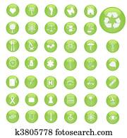 Various green, miscellaneous button icons.
