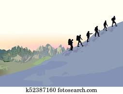 bergsteigen, in, der, gruppe