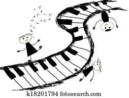 Children and piano keyboard