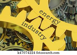 Energy Industry concept on the gears, 3D rendering